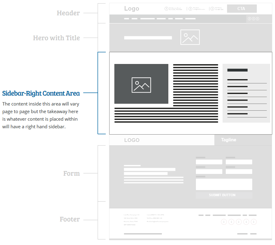 Law firm website subpage sidebar right content area